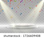 colorful confetti fall on the... | Shutterstock .eps vector #1726609408