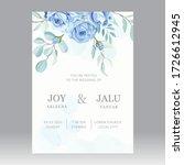 Blue Roses Wedding Card Template