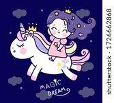 Flat Unicorn Fairy Cartoon Pon...