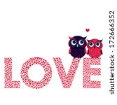 Two Cute Owls In Love And Love...