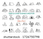 vintage hand drawn tents icons... | Shutterstock .eps vector #1726750798