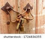 Old Wooden Door Locked By A...