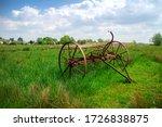 Horse Drawn Hay Rake On A Fiel...