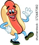 happy hot dog waving and...   Shutterstock .eps vector #172687382