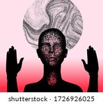 Human silhouette with halo disk behind head and rised hands. Creepy weird conceptual illustration about cults, sects and other religious spiritual movements.