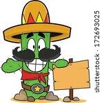 funny cartoon cactus  smiling ... | Shutterstock .eps vector #172693025