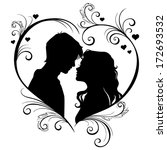 vector silhouette of a loving...