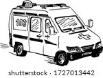 ambulance doodle drawing ... | Shutterstock .eps vector #1727013442