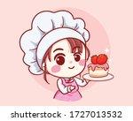 cute bakery chef girl holding a ... | Shutterstock .eps vector #1727013532