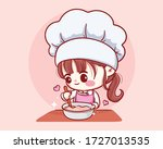 cute bakery chef girl cooking... | Shutterstock .eps vector #1727013535