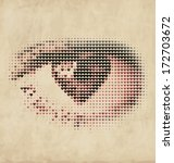 Heart Shaped Eyeball - Retro Valentines Design Element