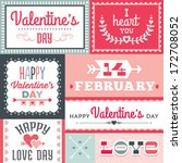 set of hipster valentine's day... | Shutterstock . vector #172708052