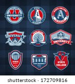 Set of university and college school badges