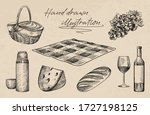 hand drawn sketch of picnic set.... | Shutterstock .eps vector #1727198125