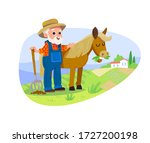 farmer with horse. countryside... | Shutterstock .eps vector #1727200198