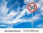 round speed limit road sign... | Shutterstock . vector #172720112