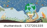 mother earth day poster with... | Shutterstock .eps vector #1727201335