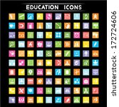 education icons set  flat icons ... | Shutterstock .eps vector #172724606