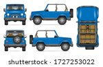 SUV convertible car vector mockup for vehicle branding, advertising, corporate identity. View from side, front, back, top. All elements in the groups on separate layers for easy editing and recolor - stock vector