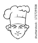 smiling chef with a tall toque... | Shutterstock .eps vector #172729508