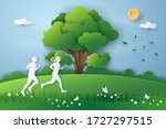 people run on the meadow with...   Shutterstock .eps vector #1727297515