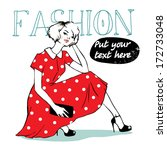 cute woman in dress | Shutterstock .eps vector #172733048
