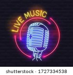 round 'live music' neon sign... | Shutterstock .eps vector #1727334538