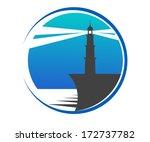 Circular Blue Lighthouse Butto...
