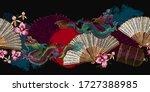 asian dragons  rising sun ... | Shutterstock .eps vector #1727388985