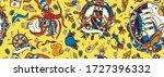 octopus kraken and pirate ship  ...   Shutterstock .eps vector #1727396332