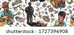 blues music seamless pattern....   Shutterstock .eps vector #1727396908
