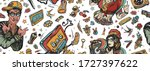 rap music seamless pattern. old ... | Shutterstock .eps vector #1727397622