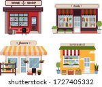 set of different colorful shops ... | Shutterstock .eps vector #1727405332