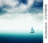 sailing boat on blue sea with... | Shutterstock . vector #172748048