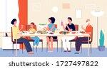 family dinner. people eating ... | Shutterstock .eps vector #1727497822