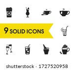 beverages icons set with cheers ...