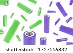 Small photo of AA battery isolated on white background, with clipping path. alkaline batteries, AA-size close up, carbon zinc batteries, rechargeable batteries, mockup, violet and green colour