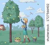 cute cartoon girl works in a...   Shutterstock .eps vector #1727566402