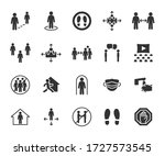 vector set of social distance... | Shutterstock .eps vector #1727573545