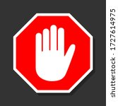 simple red stop road sign with... | Shutterstock .eps vector #1727614975