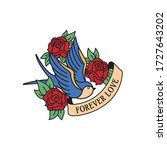 swallow and roses tattoo with... | Shutterstock .eps vector #1727643202