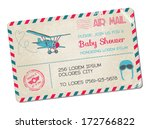 baby shower or arrival postcard ... | Shutterstock .eps vector #172766822