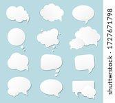 blue paper white speech bubble  ... | Shutterstock .eps vector #1727671798