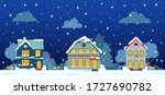 winter night street with house  ... | Shutterstock .eps vector #1727690782