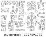 floor plan of office or cabinet ... | Shutterstock .eps vector #1727691772