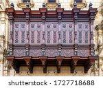 Colonial style Wood Balcony exterior architecture, Archbishop Palace, Lima, Peru.