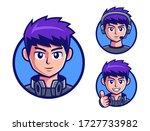 pro gamers teenage boy logo... | Shutterstock .eps vector #1727733982