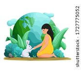 people and nature. girl and her ... | Shutterstock .eps vector #1727775052