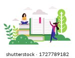distance education. young woman ... | Shutterstock .eps vector #1727789182