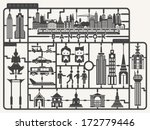 Plastic model kits required set of Bangkok city,  Silhouettes city model kit with sign, Vector illustration - stock vector